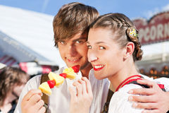 Couple in Tracht on Dult or Oktoberfest Stock Photos
