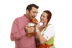 Couple in traditinal bavarian costumes Stock Images