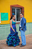 Couple in traditional Flamenco clothes Royalty Free Stock Image