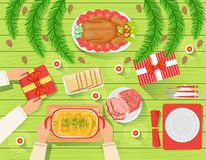 Couple With The traditionally Served Christmas Table View From Above Stock Images