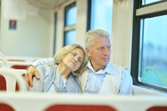 Couple in train Royalty Free Stock Image