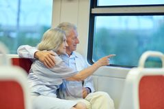 Couple in train Royalty Free Stock Photo