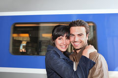 Couple at the train station Stock Images