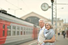 Couple at train station Royalty Free Stock Photos