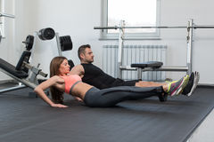 Couple Train Together With Resistance Bands Stock Photos