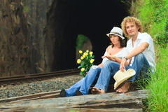 Couple on train tracks Stock Image