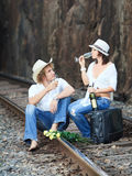 Couple on train tracks Stock Photos