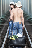Couple on train tracks Royalty Free Stock Images