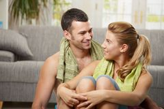 Couple after training Royalty Free Stock Image