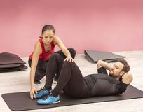 Couple Training in a Gym Stock Images