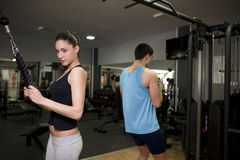Couple training at gym Stock Photo