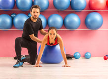 Couple Training in a Gym Stock Photos