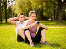Couple training together Royalty Free Stock Photos