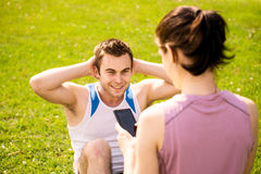 Couple training together Royalty Free Stock Images