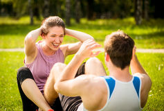 Couple training together Stock Photo