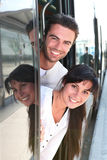Couple on tram Stock Images
