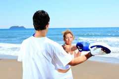 Couple traning boxing Stock Photo