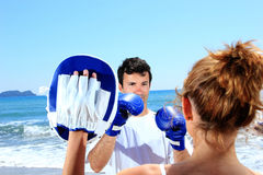 Couple traning boxing Stock Photos