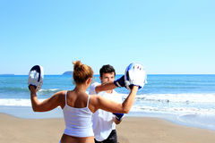Couple traning boxing Stock Image