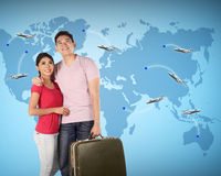 Couple Travel Around The World Stock Image