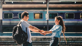Couple Travel Destination Journey Togetherness Concept Stock Photo