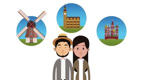 Couple and travel HD animation. Young couple with travel round symbols High definition colorful animation scenes stock video