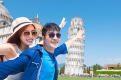 Couple travel in Italy happily royalty free stock image