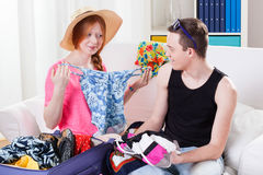 Couple during travel preparation Stock Image