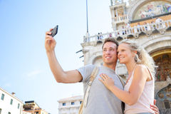 Couple on travel taking selfie photo Venice, Italy Royalty Free Stock Photo