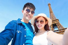 Couple travel to paris. And selfie happily stock photography
