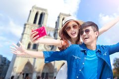 Couple travel to paris. And selfie happily stock images