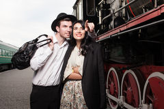 couple of traveler at railway station Royalty Free Stock Photography