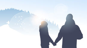 Couple Traveler Silhouette Walking Mountain Winter Forest Nature Background Royalty Free Stock Photography