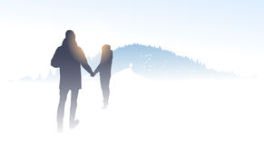 Couple Traveler Silhouette Walking Mountain Winter Forest Nature Background Royalty Free Stock Photo