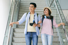 Couple of travelers Stock Image