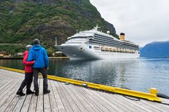 Cruise liner in the waters of Aurlandsfjord, Norway Stock Image