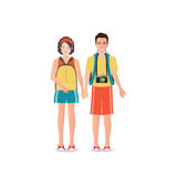 Couple travelers with luggage on white background. Couple travelers with luggage on white background, charactor flat design vector illustration Stock Image