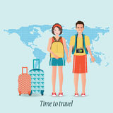 Couple travelers with luggage on world map background. Tourists couple ready to trip. on summer holidays trip, charactor flat design vector illustration Royalty Free Stock Image