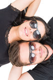 Couple of travelers resting wearing shades or sunglasses Royalty Free Stock Photo