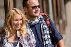 Couple traveling by backpack smiling together trip Stock Photo