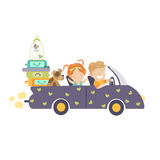 Couple traveling by car Stock Photography