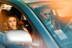 Couple traveling by car at high speed Royalty Free Stock Photos