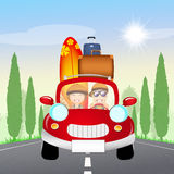 Couple traveling with car Stock Images