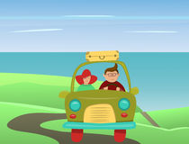 Couple traveling by car. Vector illustration Stock Photography