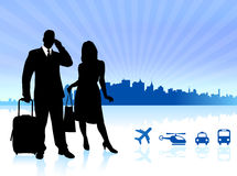 Couple traveling with City Skyline background Royalty Free Stock Image
