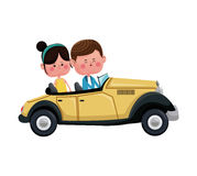 Couple traveling classic car lovely. Vector illustration eps 10 Stock Photography