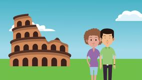 Couple traveling in europe HD animation. Young couple in rome coliseum cartoon High definition colorful animation scenes stock video