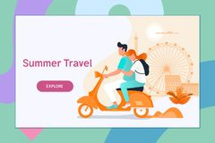Couple traveling on a scooter.Summer vacation, tourism and journey, couple travels. Flat vector illustration. Couple traveling on a scooter.Summer vacation royalty free illustration