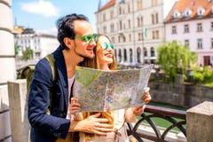 Couple traveling Slovenia Royalty Free Stock Photos