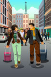 Couple  traveling together. A vector illustration of happy couple traveling together Royalty Free Stock Photography